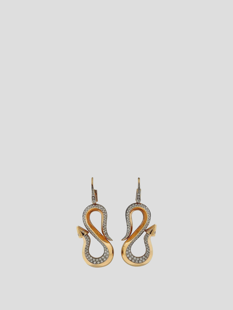 Bvlgari Enigma Diamond Gold Snake Arrow Earrings