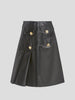 Leather Pleated Knee Length Skirt