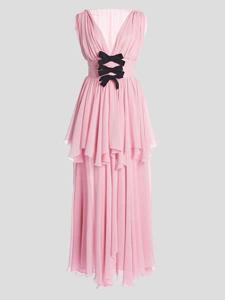 Sleeveless Bow Embroidered  V-Neck Tiered Gown