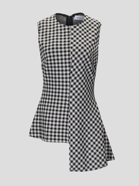 Sleeveless Gingham Jacq Fluted Top