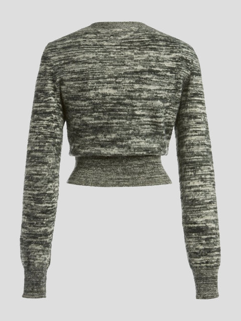 Marled Crewneck Cropped Sweater