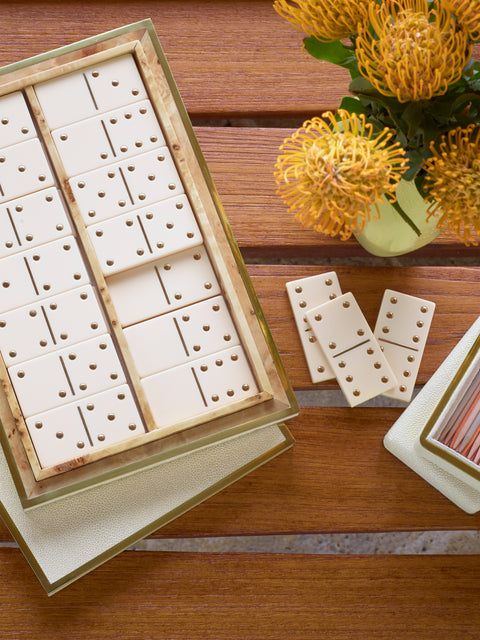 Cream Shagreen Domino Set