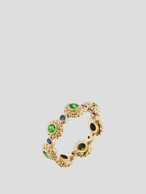 Evo 18k Yellow Gold, Tsavorite Garnet and Sapphire Eternity Band,Ana Katarina,- Fivestory New York
