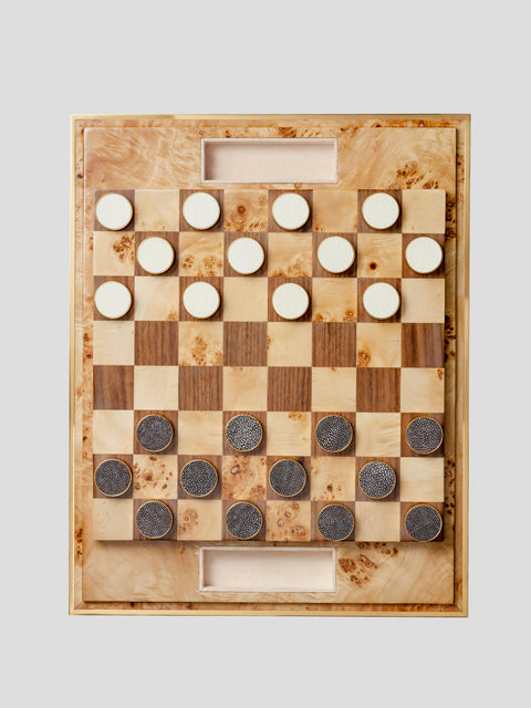 Cream Shagreen Checkers Set