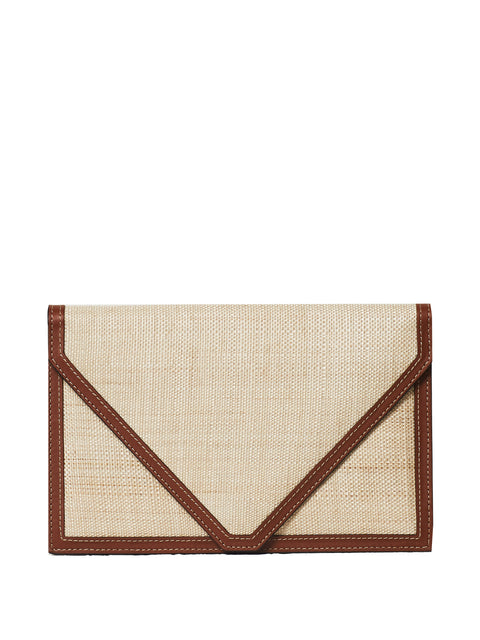 Leather-Trimmed Envelope Clutch