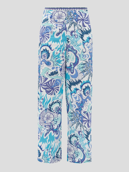 Stephan Psycho Print Wide-Leg Pants