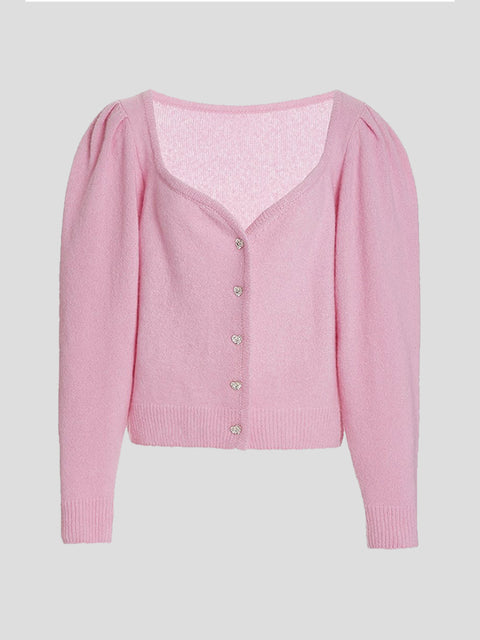 Sweetheart Neck Cashmere Cardigan