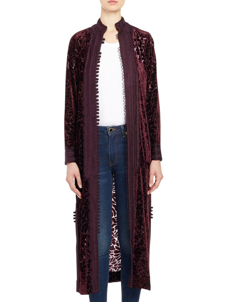 Long Velvet Burnout Jacket