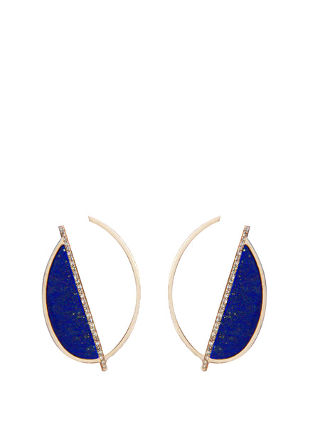 Yellow Gold, Diamond and Lapis Cerne Earrings