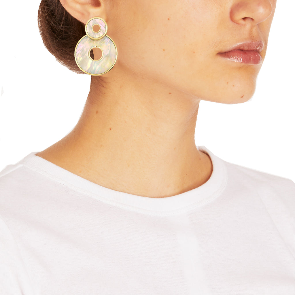 Retrouvai | Mother of Pearl Inlay Swivel Earrings | FIVESTORYNY.COM