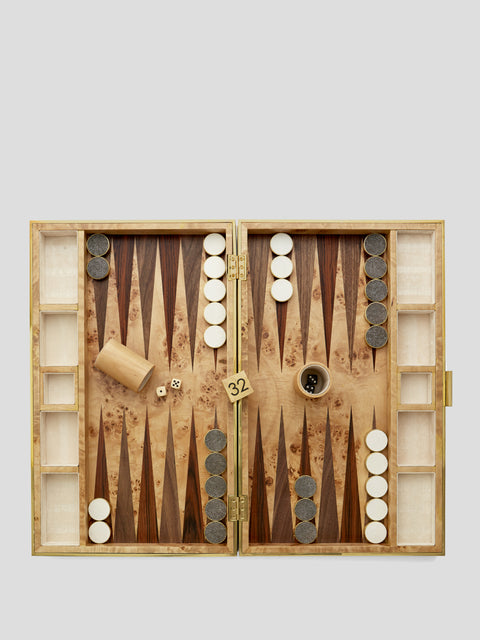 Cream Shagreen Backgammon Set