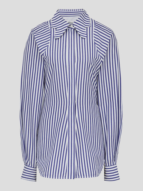Stripe Shirting Butterfly Collar Shirt