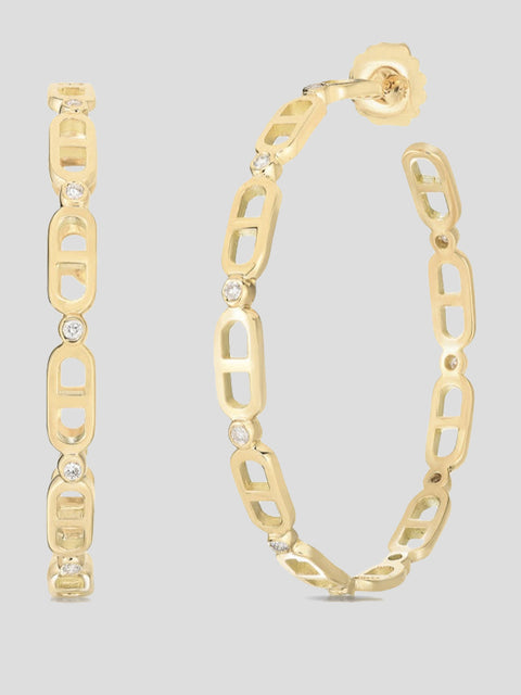 Diamond Chevalier Creole Xl Hoops
