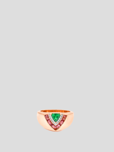 18k Rose Gold, Pink Tourmaline and Emerald Tiered Signet Ring,Emily P Wheeler,- Fivestory New York