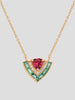 18k Yellow Gold, Pink Tourmaline and Emerald Tiered Necklace