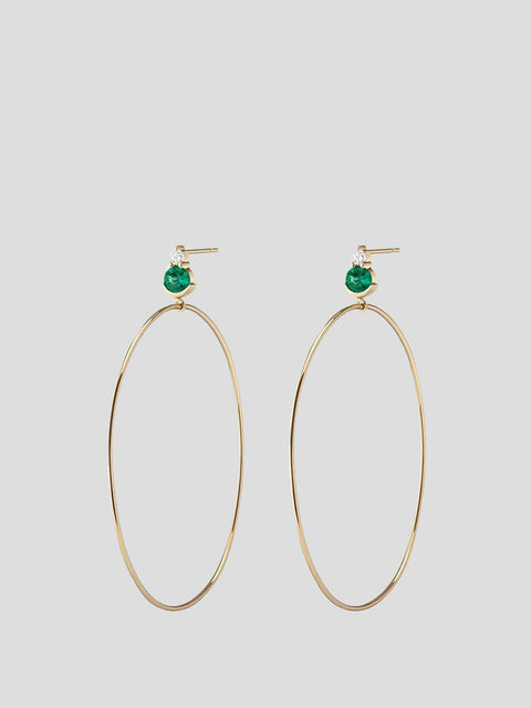 Ayda 14k Yellow Gold, Emerald and White Diamond Hoops