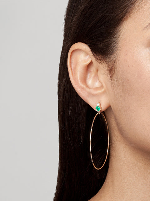 Ayda 14k Yellow Gold, Emerald and White Diamond Hoops,Selin Kent,- Fivestory New York