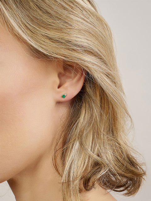 Ayda 14k Yellow Gold and Emerald Stud Earrings,Selin Kent,- Fivestory New York