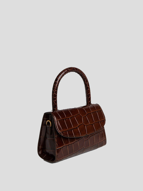 Mini Croc Embossed Top Handle Bag