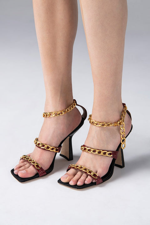 Gina Chain Embossed Ankle Strap Sandals