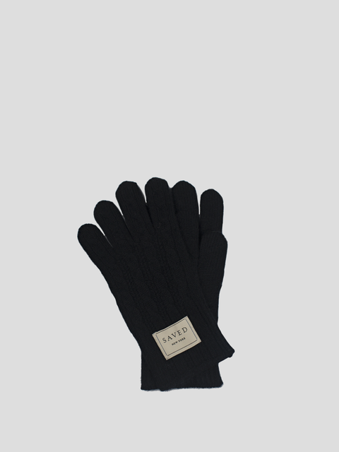 Black Cable Knit Glove