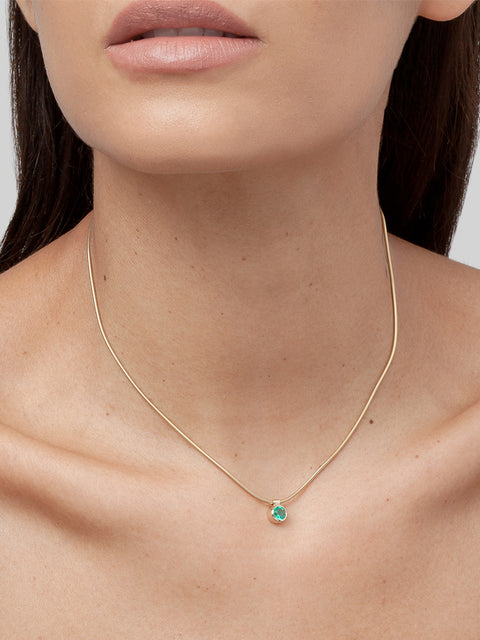 Clea 14k Yellow Gold and Emerald Necklace