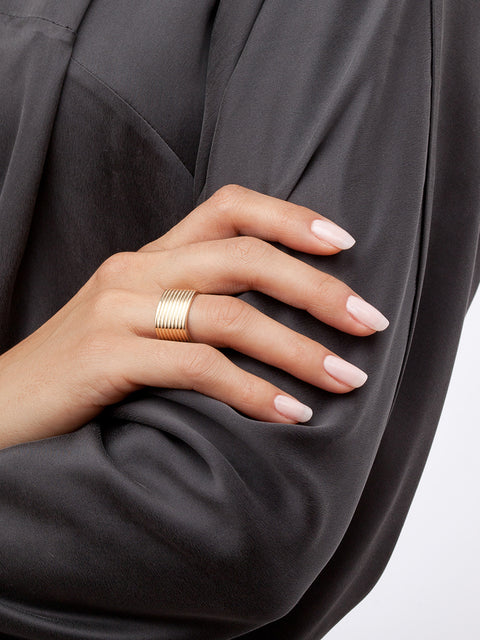 Coil 14k Yellow Gold Cigar Ring,Selin Kent,- Fivestory New York