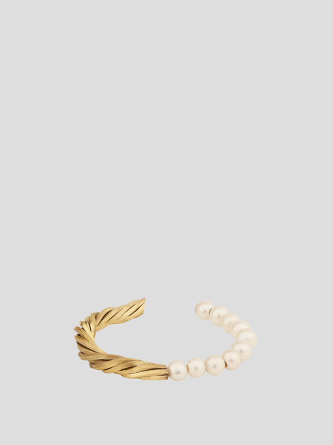 H10 Twisted Gold And Pearl Bracelet