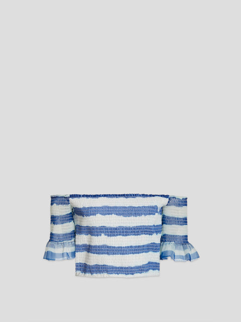 Doric White and Blue Stripe Organza Top