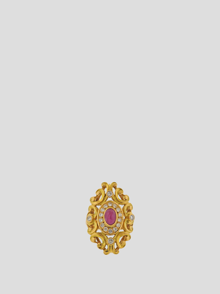 Lalaounis Greece Gold Ruby Diamond Ring