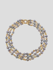 Assael Keshi Pearl Diamond Gold Three Strand Necklace
