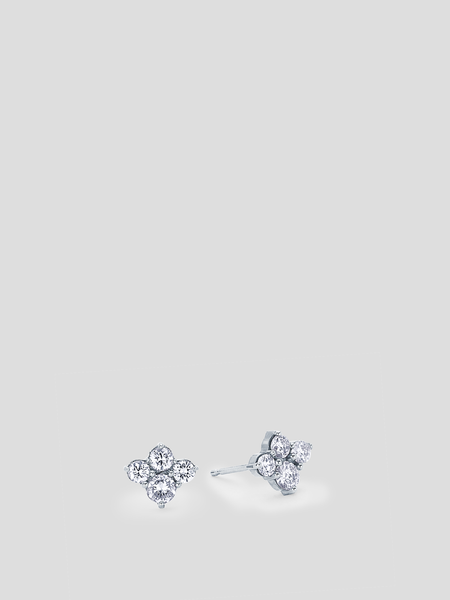 18k White Gold Dujour Diamond Cluster Stud Earrings