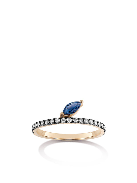 Defne 14k Yellow Gold, Sapphire and Diamond Ring