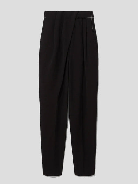 Draped-Front Trousers with Topstitching