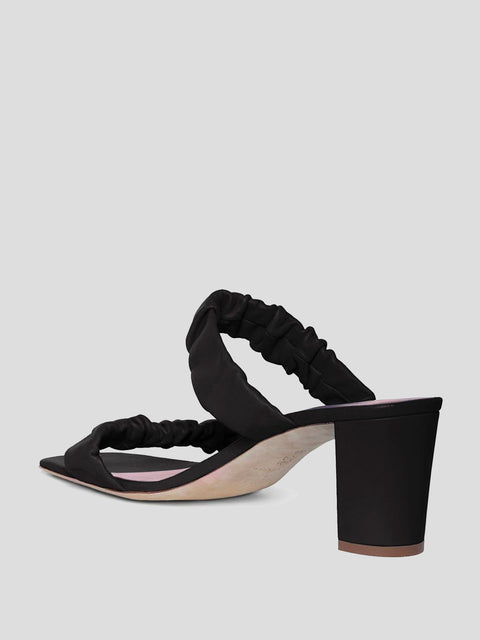 Frankie Black Ruched Sandal