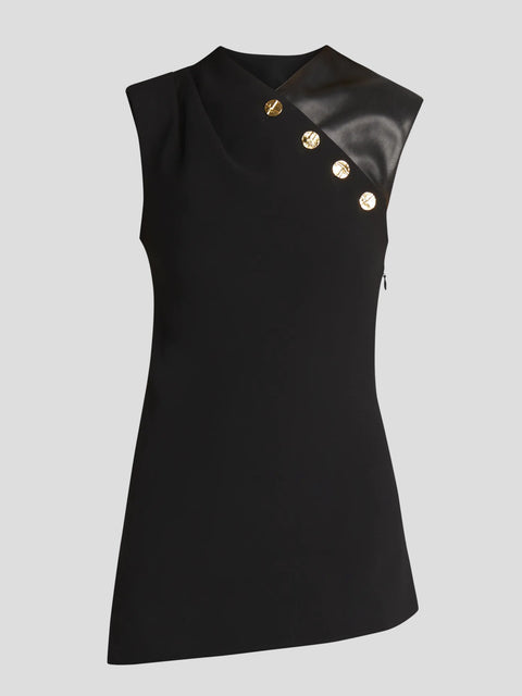 Sleeveless Crepe Top With Leather Trim