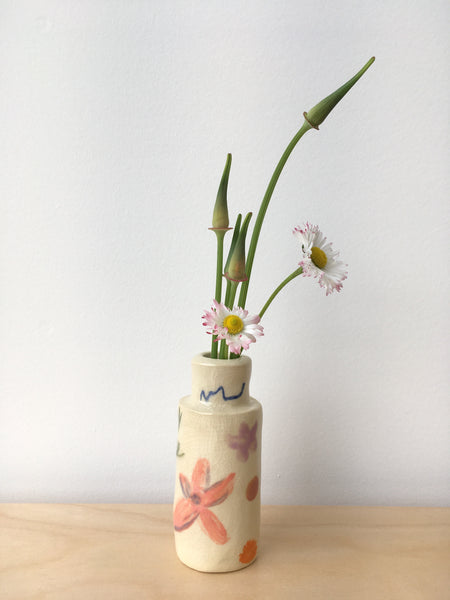 Hand-Painted Flower Bud Vase