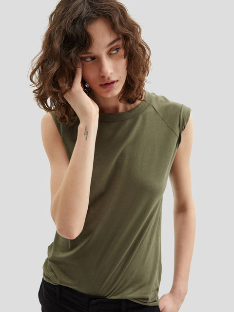 Army Green Short Sleeve Baseball Tee,Nili Lotan,- Fivestory New York