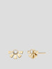 Helia 14k Yellow Gold and Diamond Stud Earrings