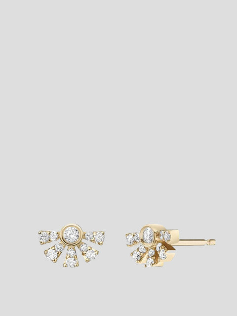 Helia 14k Yellow Gold and Pave Diamond Stud Earrings