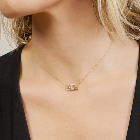 Helia 14k Rose Gold and Diamond Necklace