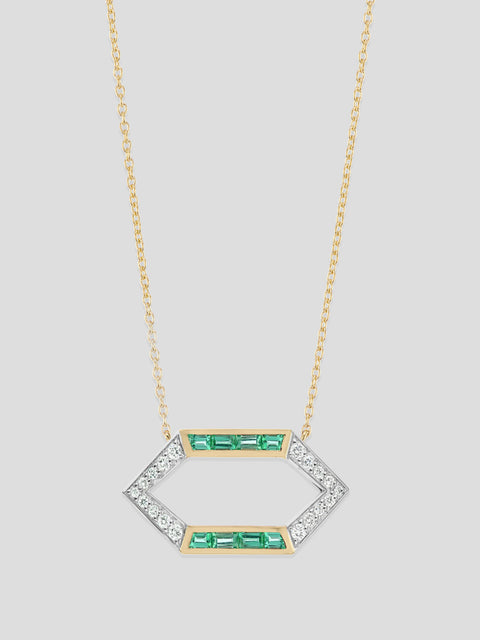 18k Yellow Gold and Emerald Open Hexagon Necklace,Emily P Wheeler,- Fivestory New York