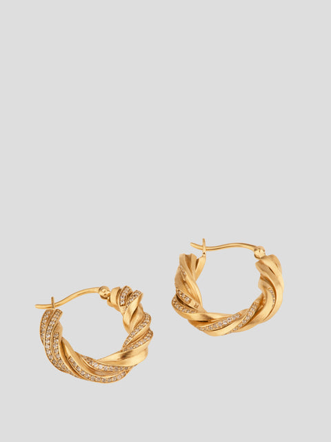 Deep State Woven Hoop Earrings