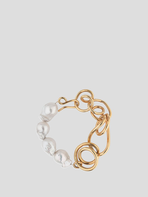 Gold Chain Pearl Combo Bracelet