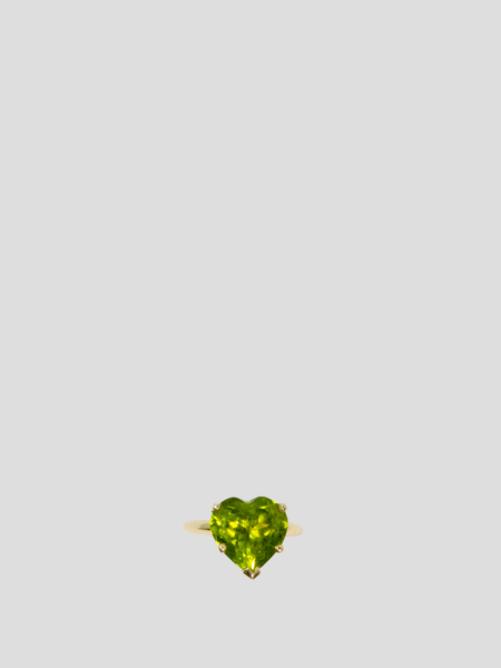Green Rainbow Heart Solitaire Ring