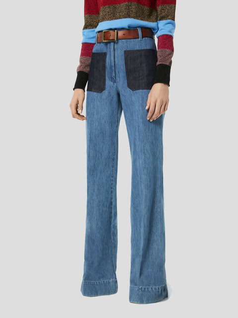 High-Waisted Patch Pocket Jean