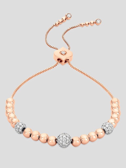 18k Rose Gold Isadora Cali Bolo Diamond Bead Bracelet