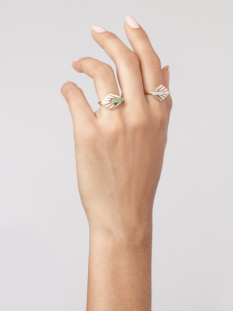 Josephine 14k Yellow Gold and Emerald Ring,Selin Kent,- Fivestory New York