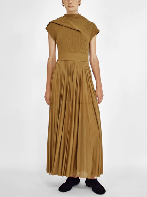Gauzy-Jersey Draped Dress