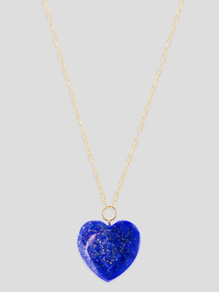 Lapis Lazuli Heart 18k Yellow Gold Necklace,Haute Victoire,- Fivestory New York